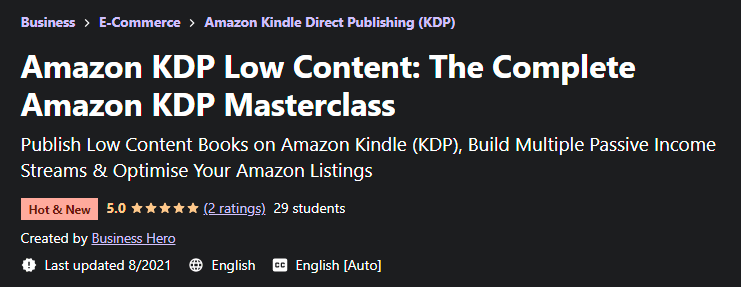 [GET] Amazon KDP Low Content – The Complete Amazon KDP Masterclass Free Download