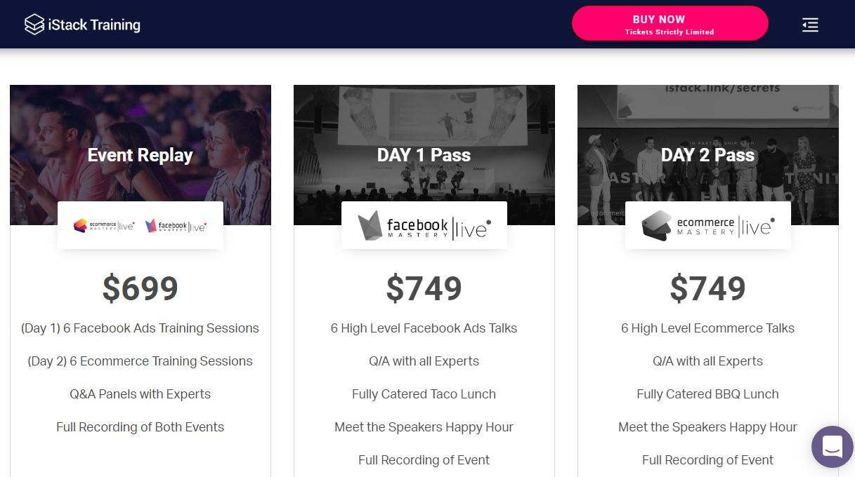 [SUPER HOT SHARE] Istack – Facebook & Ecommerce Mastery Live 2019 Replay $749